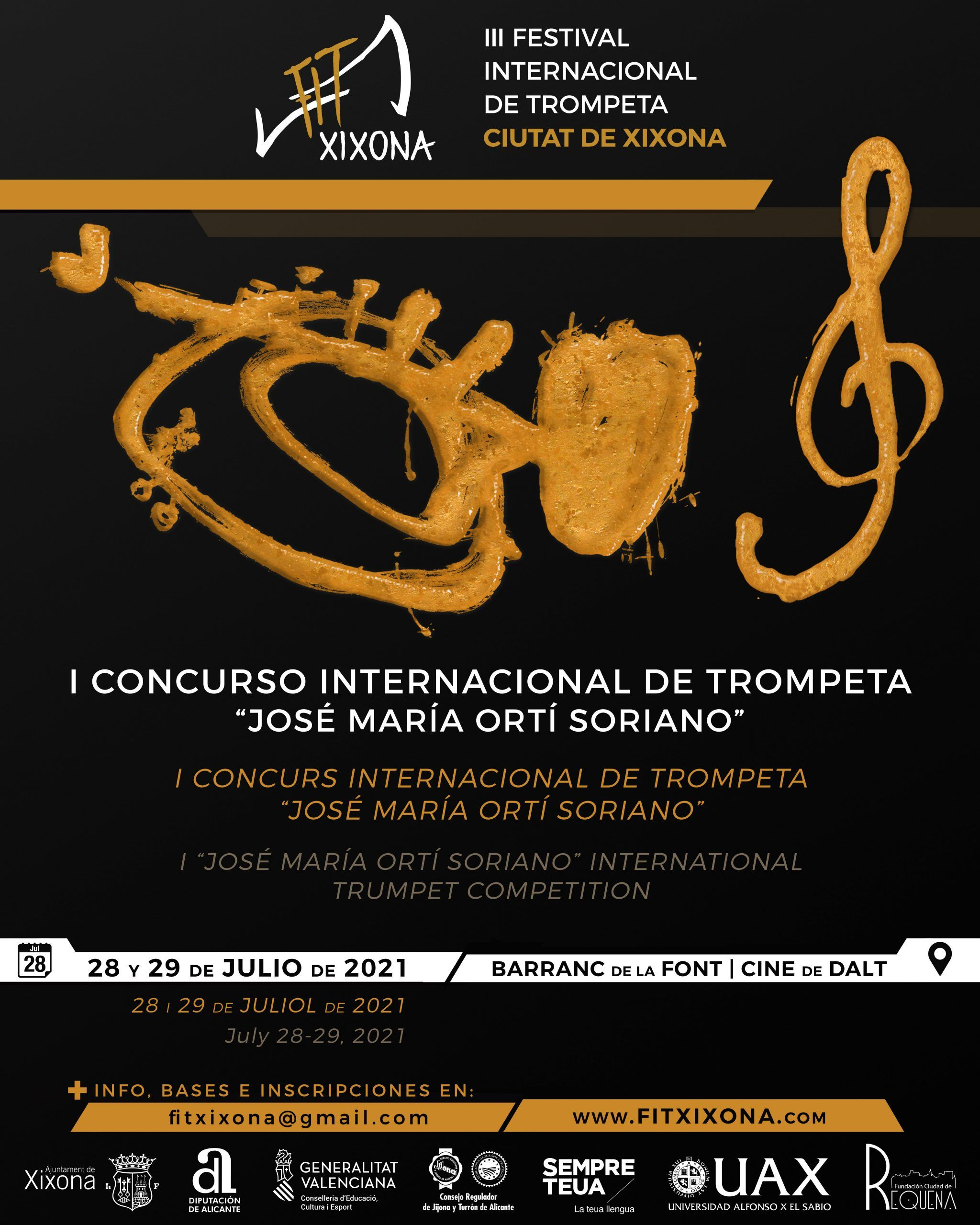 Cartel-Concurso-Internacional-de-Trompeta-José María-Ortí-Soriano-Festival-Internacional-de-trompeta-Ciutat-de-Xixona